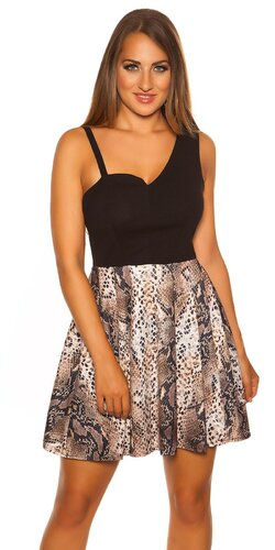 Mini šaty s Áčkovou sukňou so zvieracími vzormi | Čierno-hnedá