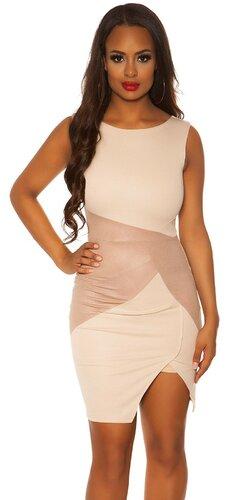 Dámske puzdrové šaty s aplikáciami koženého vzhľadu