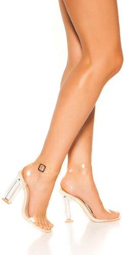 Sandálky s priehľadným hrubým podpätkom | Krémová