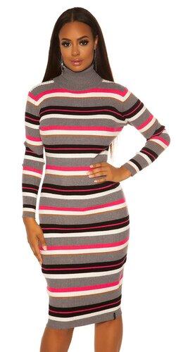 Rolákové pletené dámske maxi šaty