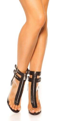 Vysoké topánky s odhalenou špičkou Čierna