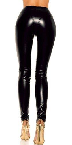 Lesklé kožené nohavice s vysokým pásom a zipsom vpredu