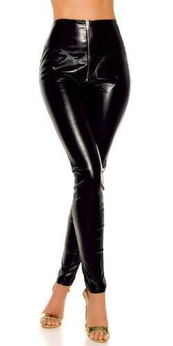 Lesklé kožené nohavice s vysokým pásom | Čierna