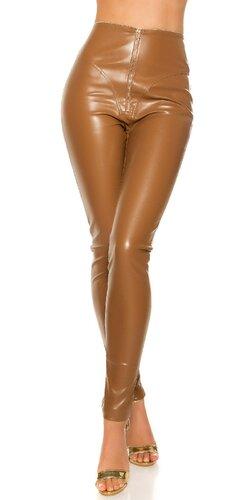 Lesklé kožené nohavice s vysokým pásom | Cappuccino