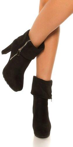 Členkové čierne čižmy Čierna