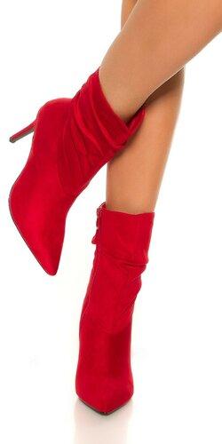 Členkové čižmy so štíhlymi podpätkami Červená