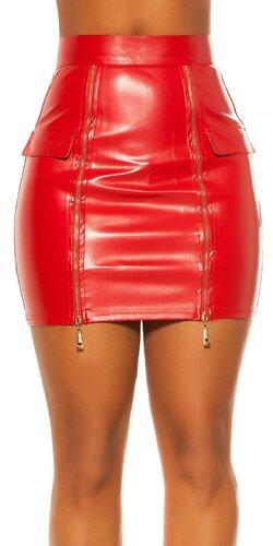 Kožená sukňa s vysoký pásom | Červená