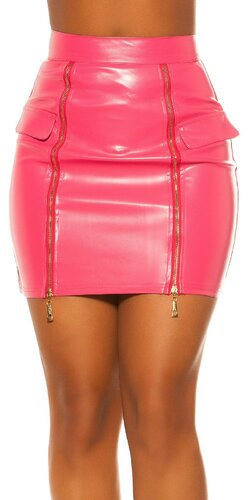 Kožená sukňa s vysoký pásom | Ružová