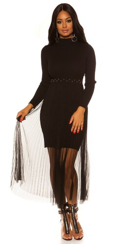 Pletené šaty s dlhou šifónovou sukňou | Čierna