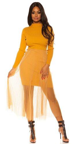 Pletené šaty s dlhou šifónovou sukňou | Horčicová
