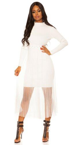 Pletené šaty s dlhou šifónovou sukňou | Biela