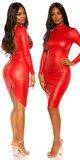 Wetlook mini šaty sexy back Červená