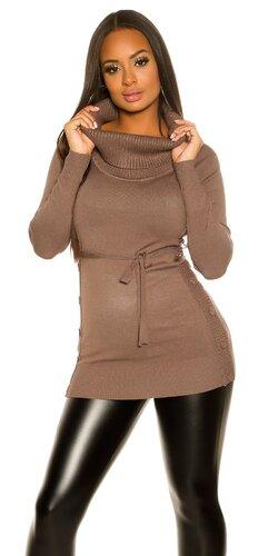 Dámske pletené mini šaty s gombíkmi po bokoch | Cappuccino