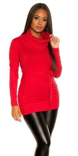 Dámske pletené mini šaty s gombíkmi po bokoch | Červená