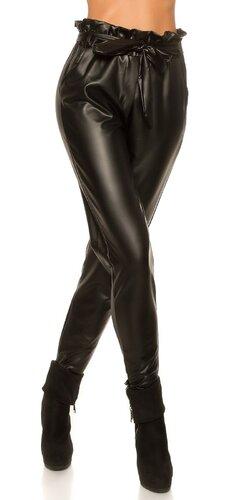 Kožené nohavice voľného strihu s opaskom