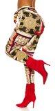 Látkové nohavice s potlačou Červená