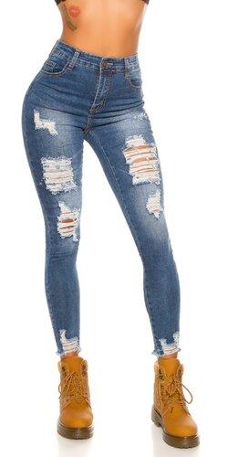 Trhlinové džínsy s vysokým pásom