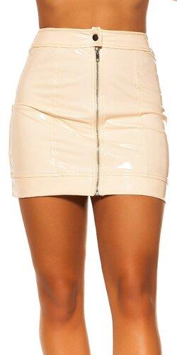 Latexová sukňa so zipsom | Béžová
