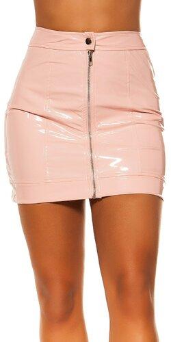Latexová sukňa so zipsom | Bledá ružová