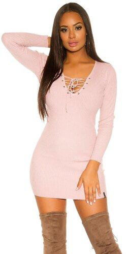 Pletené dámske mini šaty so šnurovaním | Bledá ružová