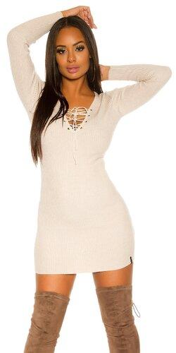Pletené dámske mini šaty so šnurovaním | Béžová
