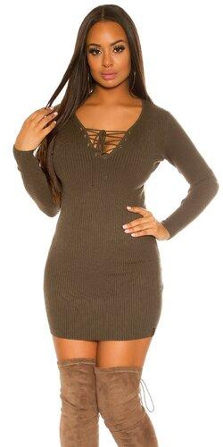 Pletené dámske mini šaty so šnurovaním | Khaki