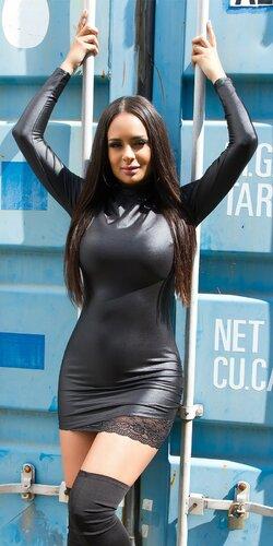 Čierne mini šaty KouCla s čipkou | Čierna