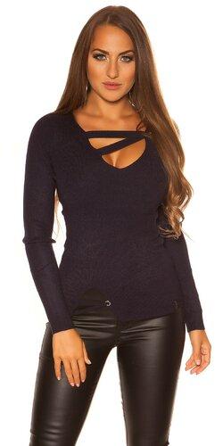 Pletený sveter so šnúrkami | Tmavomodrá