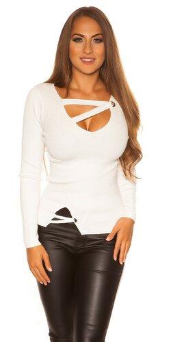 Pletený sveter so šnúrkami | Biela