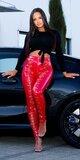 Šnurovacie latexové nohavice s vysokým pásom Červená