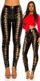 Šnurovacie latexové nohavice s vysokým pásom Čierna