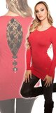Dámsky pulóver s čipkou a mašličkami Červená