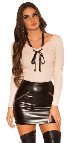 KouCla sveter so stuhou | Bledá ružová
