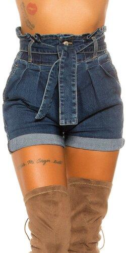 Džínsové šortky s vysokým pásom Tmavomodrá
