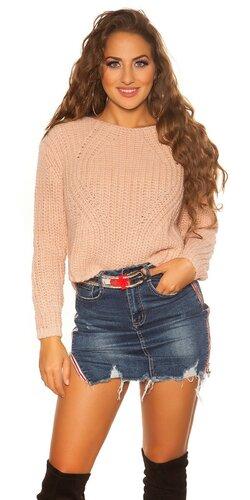 Krátky pletený sveter | Bledá ružová