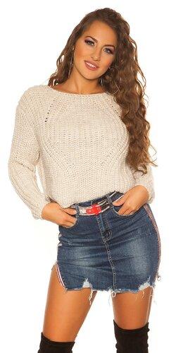 Krátky pletený sveter | Béžová