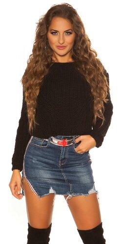 Krátky pletený sveter | Čierna