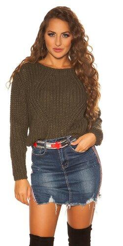 Krátky pletený sveter | Khaki