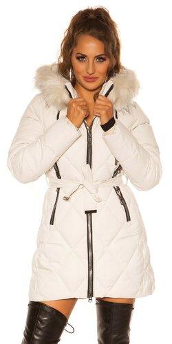 Dlhá zimná bunda so striebornými zipsami