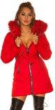 Dlhá zimná bunda so striebornými zipsami Červená