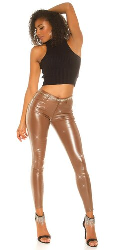 Lesklé kožené nohavice | Hnedá