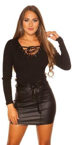 KouCla sveter so šnurovacím výstrihom | Čierna