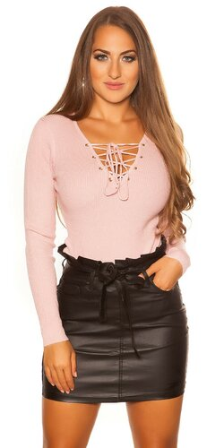 KouCla sveter so šnurovacím výstrihom | Bledá ružová