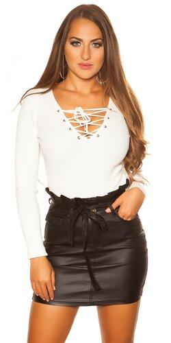 KouCla sveter so šnurovacím výstrihom | Biela