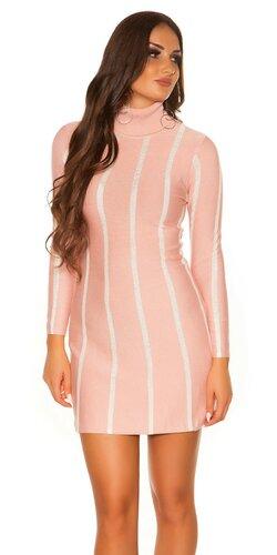 Dámske pletené rolákové šaty KouCla | Bledá ružová