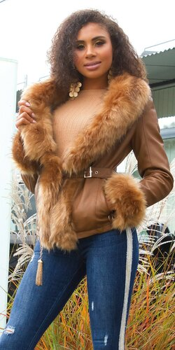 Matná kožušinová bunda