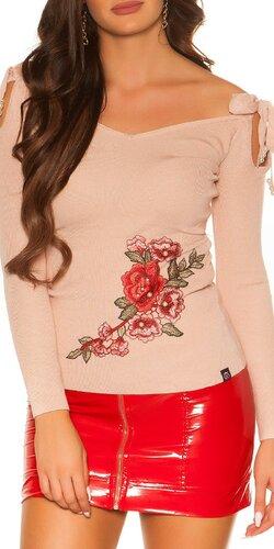 Jemný svetrík s výšivkami | Bledá ružová