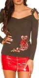 Jemný svetrík s výšivkami Khaki