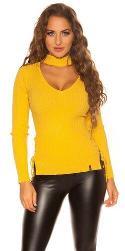 Jemný vrúbkovaný KouCla sveter | Horčicová