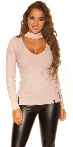 Jemný vrúbkovaný KouCla sveter | Bledá ružová